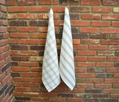 Checker Stripes Kitchen Towel Natural, 100% Cotton