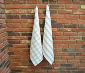 Checker Stripes Kitchen Towel Natural, 100% Cotton