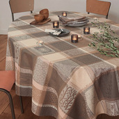 "Tablecloth Rectangle Mille Wax Argile 71""x118"", Cotton - 1ea"