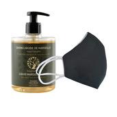 6 Washable protective masks GT9501 + 3 bottles of Nourishing Olive Oil French Hand Soap.