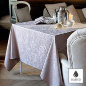 """Mille Charmes Taupe Tablecloth Round 69"""", Coated Cotton"""
