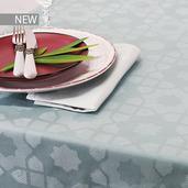 "Mille Gibraltar Brume Tablecloth 61""x61"", 100% Cotton"
