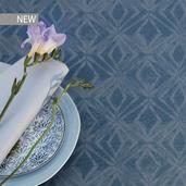 "Mille Ikats Petrole Tablecloth 61""x89"", 100% Cotton"