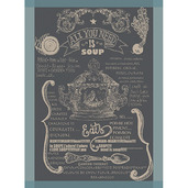 Soupiere Bleu Gris Kitchen Towel, Cotton