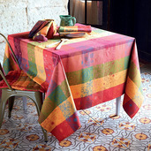 """Mille Alcees Litchi Tablecloth 71""""x98"""", 100% Cotton"""