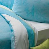 Bon Voyage Turquoise Pillow Case, King, Cotton-2ea