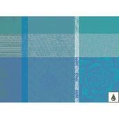 "Mille Gardenias Lagon 16""x20"" Placemat, Coated Cotton - Set of 4"