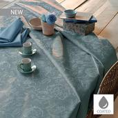 "Mille Charmes Bleu Louis XVI Tablecloth Round 69"", Coated Cotton"
