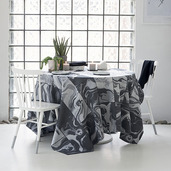 """Mille Marble Black Tablecloth 69""""x98"""", Coated"""