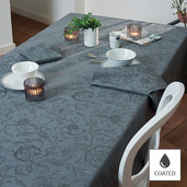 """Tablecloth Round Mille Charmes Grey Round 69"""", Coated Cotton - 1ea"""