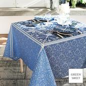 """Cassandre Saphir Tablecloth 69""""x143"""", Green Sweet"""