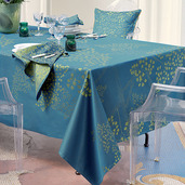 """Mille Branches Paon Tablecloth 71""""x118"""", 100% Cotton"""