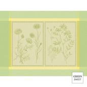 """Herbora Prairie 21""""x15"""" Placemat, Green Sweet Stain-Resistant cotton - Set of 4"""