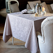 "Mille Charmes Taupe Tablecloth 71""x71"", 100% Cotton"