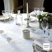 "Alexandrine Snow Tablecloth 69""x69"", Organic Cotton"
