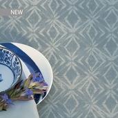 "Mille Ikats Zinc Tablecloth 61""x89"", 100% Cotton"