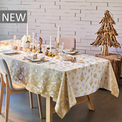 """Mille Merry Gold Tablecloth 61""""x89"""", 100% Cotton"""