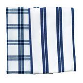 Blue Checker Stripe Kitchen Towels -SET of 2ea