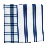 Blue Checker Stripes 2pcs Kitchen Towel Set