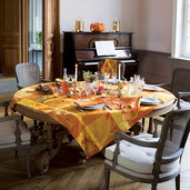 """Mille Banquets Ocre Tablecloth 45""""x45"""", 100% Cotton"""