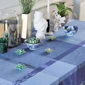 """Mille Matieres Abysses Tablecloth 71""""x118"""", 100% Cotton"""