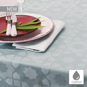 """Mille Gibraltar Brume Tablecloth 59""""x87"""", Coated Cotton"""