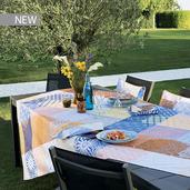"""Mille Zelliges Caliente Tablecloth 61""""x61"""", 100% Cotton"""