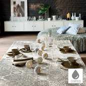 """Mille Azulejos Naturel Tablecloth 59""""x87"""", Coated"""