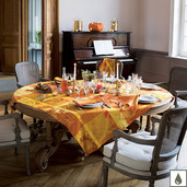 """Mille Banquets Ocre Tablecloth 69""""x98"""", Coated Cotton"""