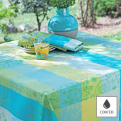 """Mille Alcees Narcisse Tablecloth Round 69"""", Coated Cotton"""