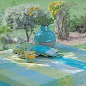 """Mille Alcees Narcisse Tablecloth 69"""" Round Coated"""