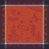 """Chant De Noel Bordeaux Napkin 22""""x22"""", 100% Cotton"""