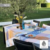 "Mille Zelliges Caliente Tablecloth 59""x87"", Coated Cotton"