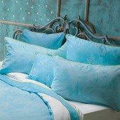 Bon Voyage Turquoise Pillow Case, Queen, Cotton-2ea