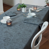 "Tablecloth Round Mille Charmes Grey Round 71"", Cotton - 1ea"