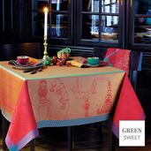 "Matriochkas Oural Tablecloth 61""x61"", Green Sweet"