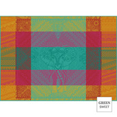 """Jodhpur Festival 22""""x16"""" Placemat, Green Sweet Stain-Resistant cotton - Set of 4"""
