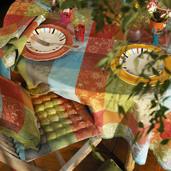 """Tablecloth Mille Couleurs Paris 71""""x118"""", Cotton - 1ea"""