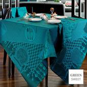 "Entre Amis Bleu Canard Tablecloth 45""x45"", Stain Resistant"