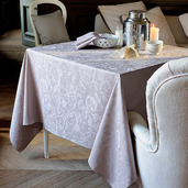 """Mille Charmes Taupe Tablecloth 71""""x118"""", 100% Cotton"""