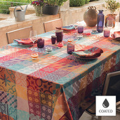 "Mille Tiles Multicolore Tablecloth 69""x98"", Coated Cotton"