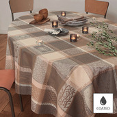 "Tablecloth Round Mille Wax Argile Round 69"", Coated Cotton - 1ea"