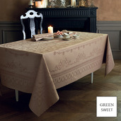 "Eloise Macaron Tablecloth 96"" Round GS Stain-Resistant Cotton, HTC"