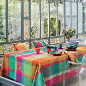 """Mille Dentelles Floralies Tablecloth 71""""x118"""", 100% Cotton"""