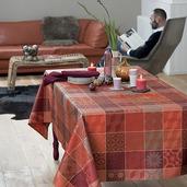 "Mille Tiles Terracotta Tablecloth 71""x98"", 100% Cotton"