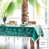 "Serres Royales Vert Empire Tablecloth 69""x143"", Green Sweet"