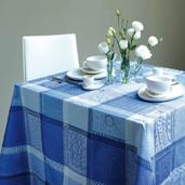 "Tablecloth Mille Wax Ocean 71""x118"", Cotton - 1ea"