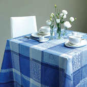 "Mille Wax Ocean Tablecloth 71""x118"", 100% Cotton"