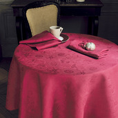 """Mille Datcha Raspberry Tablecloth Round 93"""", 100% Linen"""