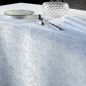 """Mille Charmes Blanc Tablecloth Round 71"""", 100% Cotton"""